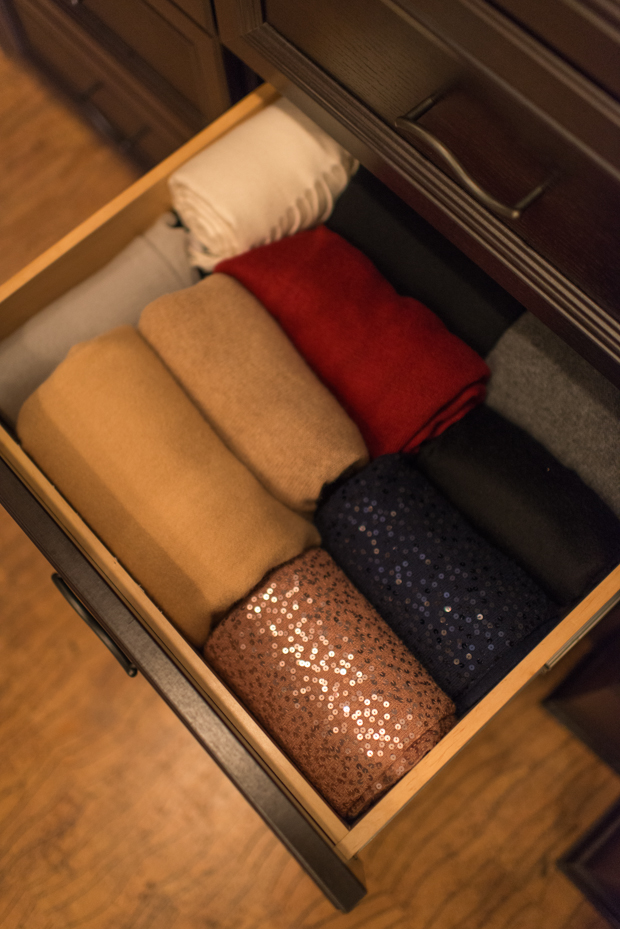 How to organize shawls in a drawer